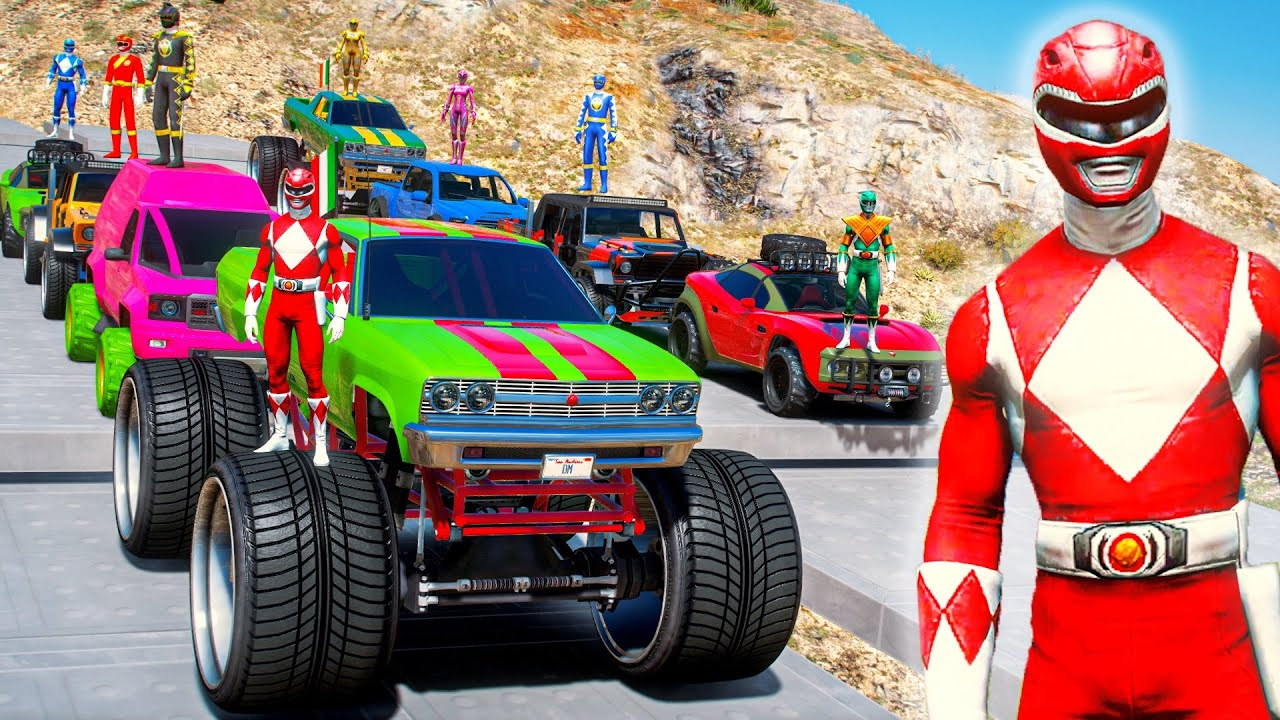 Download POWER RANGERS TEAM With Monster Truck CARS SUPERHEROES JUMP Challenge On RAMPS #131
