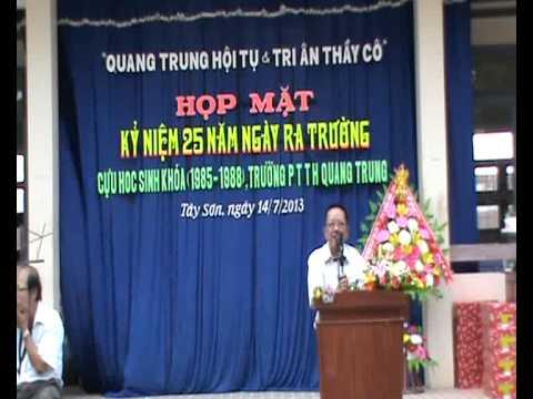 Phát biểu của thầy Mai Văn Tiên hiệu trưởng trường THPT Quang Trung