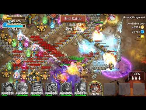 Insane Dungeon 6-6 Castle Clash F2P - 3 Flames (100%)