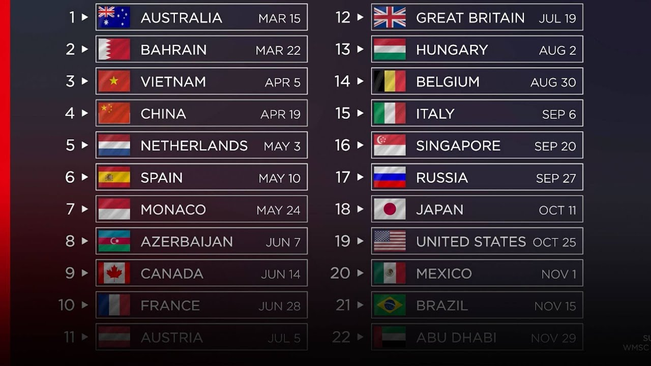 2020 Formula 1 calendario le date ufficiali mondiale F1   YouTube