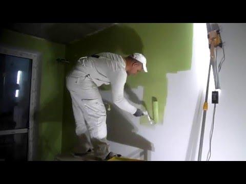 Как правильно красить стены валиком без следов видео