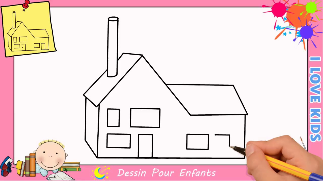 comment dessiner une maison facilement etape par etape pour enfants 3 youtube. Black Bedroom Furniture Sets. Home Design Ideas