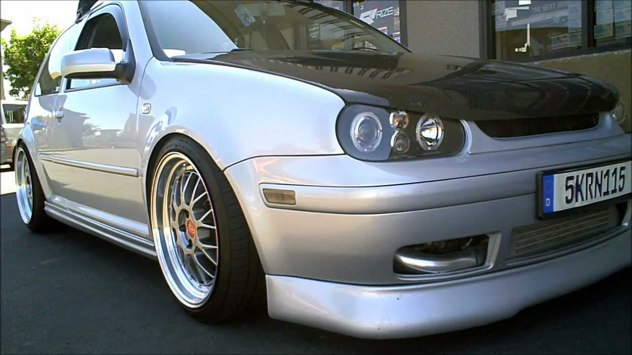 2004 Volkswagen GTI on Privat 18x8/9.5 rims , EuroGear Aero and Boser Carbon Fiber Hood - YouTube