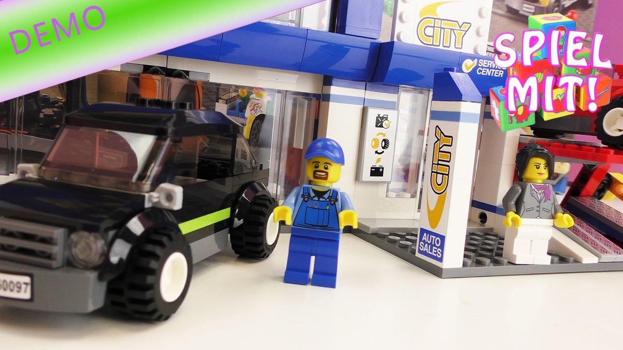 lego auto haus werkstatt bauen aufbau demo mobil in der stadt lego city stadtzentrum 60097. Black Bedroom Furniture Sets. Home Design Ideas