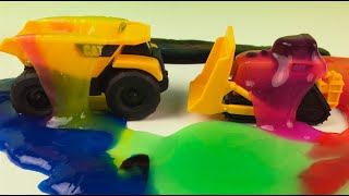 CAT Construction with slime - Mini Mighty Machines Dump Truck Excavator Bulldozer Construction Toys
