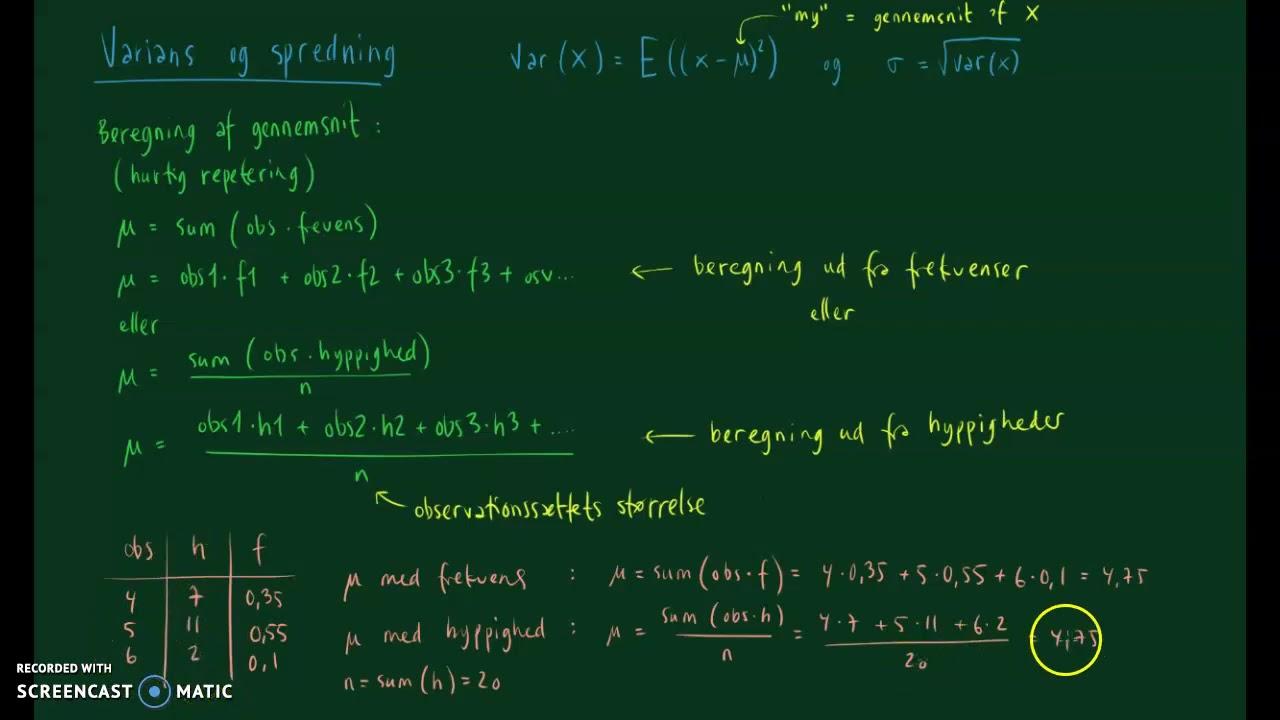 Gennemsnit, varians og spredning for ugrupperet observations