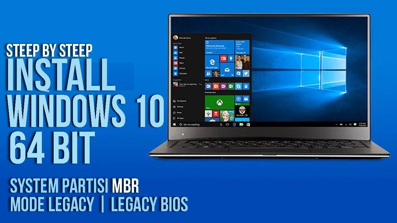 24# Langkah Langkah  Install Ulang Laptop Windows 10 di  Partisi MBR  Mode Legacy   Bios Legacy