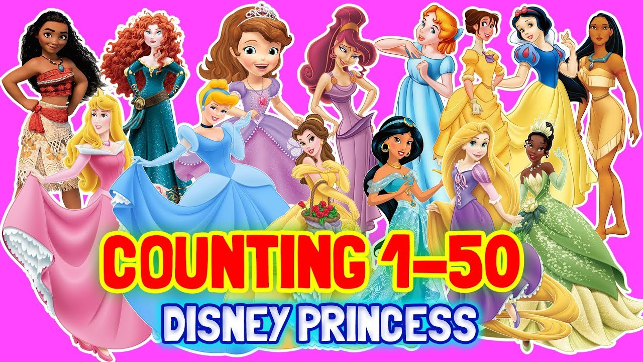 Counting To 50 All Disney Princess Characters Frozen Sofia Snow