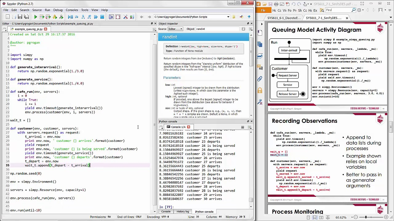 Queuing System Discrete Event Simulation in Python (Process interaction)