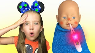 Маша нашла куклу которая чуть не заболела и согрела ее.