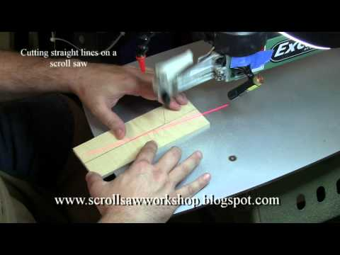 Cutting straight lines on a scroll saw.