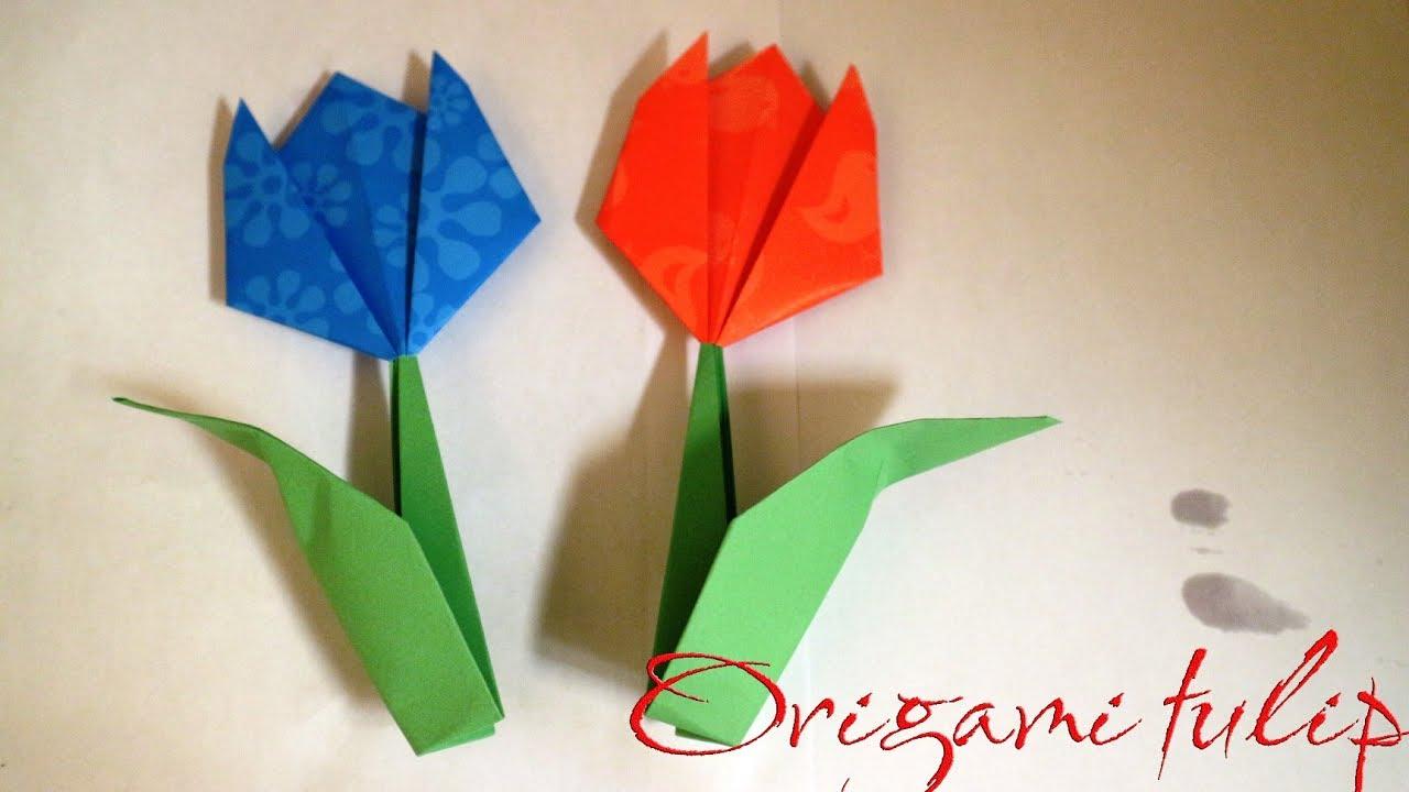 Cara Membuat Origami Tulip Origami Tulip And Stem Youtube