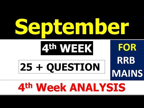 September 2017 4th Week Current Affairs Analysis Important 25 MCQ (For RRB MAINS )