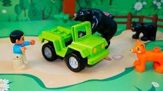 Видео для детей с игрушками про машинки и животных!