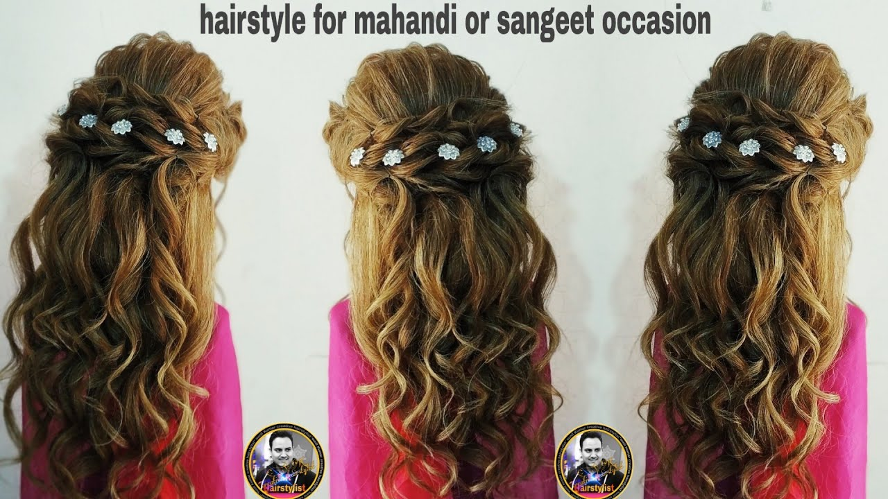 Mehendi And Sangeet Look Hairstyle Latest Back Braids Hairstyle With Open Curls Sangeet Hairstyle