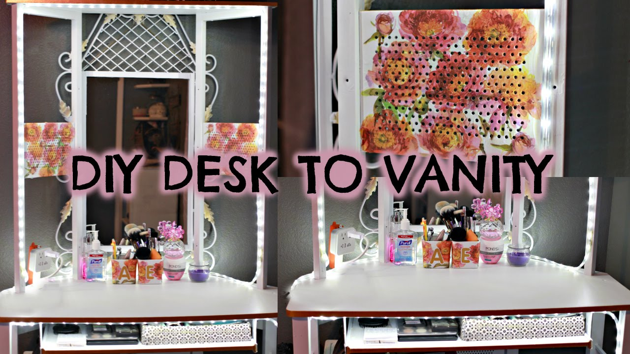 DIY making a vanity redoing a desk decoupage  YouTube