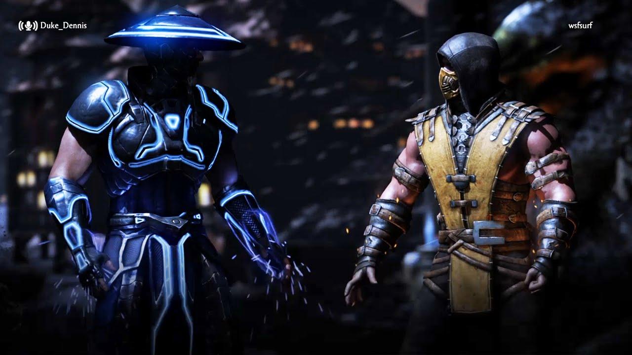 raiden vs scorpion mortal kombat x online youtube