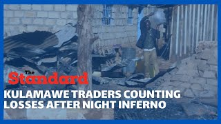 Traders in Kulamawe, Isiolo counting losses as night fire razed down their business premises