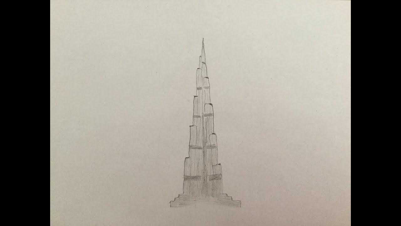 How To Draw Burj Khalifa Youtube