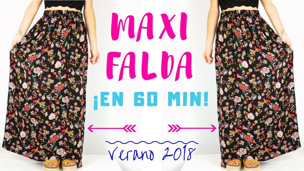 0f35bf248 Cómo hacer una MAXI FALDA muy fácil en 60 min! ❤✂ | Verano 2018 | DIY MAXI  SKIRT in 60 min!