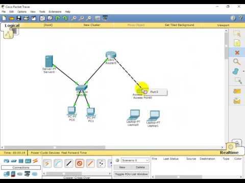 Studi Kasus Cisco Packet Tracer - 1 Server 1 Router 1 AP 2 PC 2 Laptop