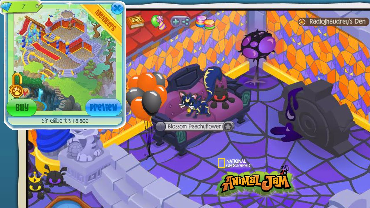Animal jam ep50 new den halloween decorating radiojh for Animal decoration games