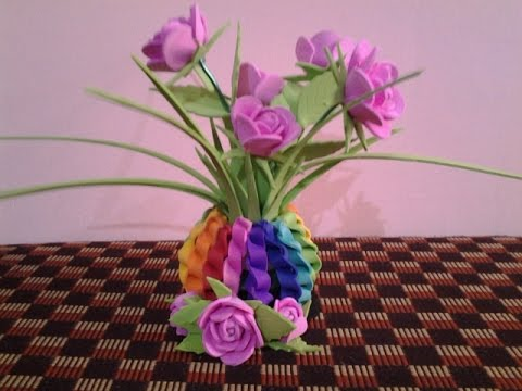 Foam art beautiful flower pot with roses youtube for Flower pot making with waste material