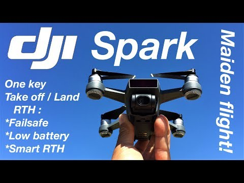 DJI Spark Mini RC Selfie Drone - Auto take off / land - RTH functions test