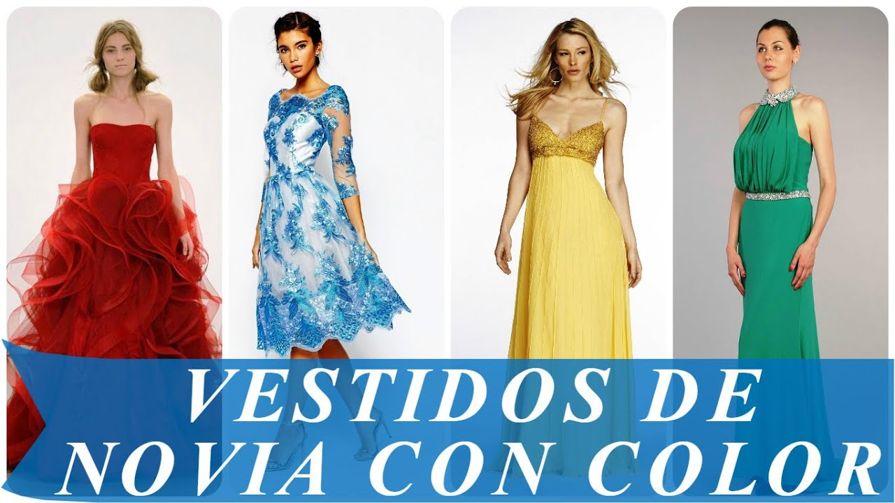 Vestidos de novia con color - YouTube