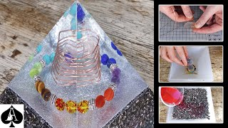 Large Orgonite Pyramid with Chakra Stones/Crystals and Epoxy Resin