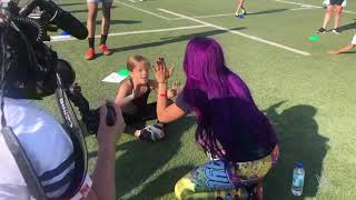 Sasha Banks works out with GEMS Wellington Academy students in Dubai