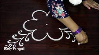 creative  rangoli designs with 3x2 dots, beautiful kolam ,how to draw simple muggulu
