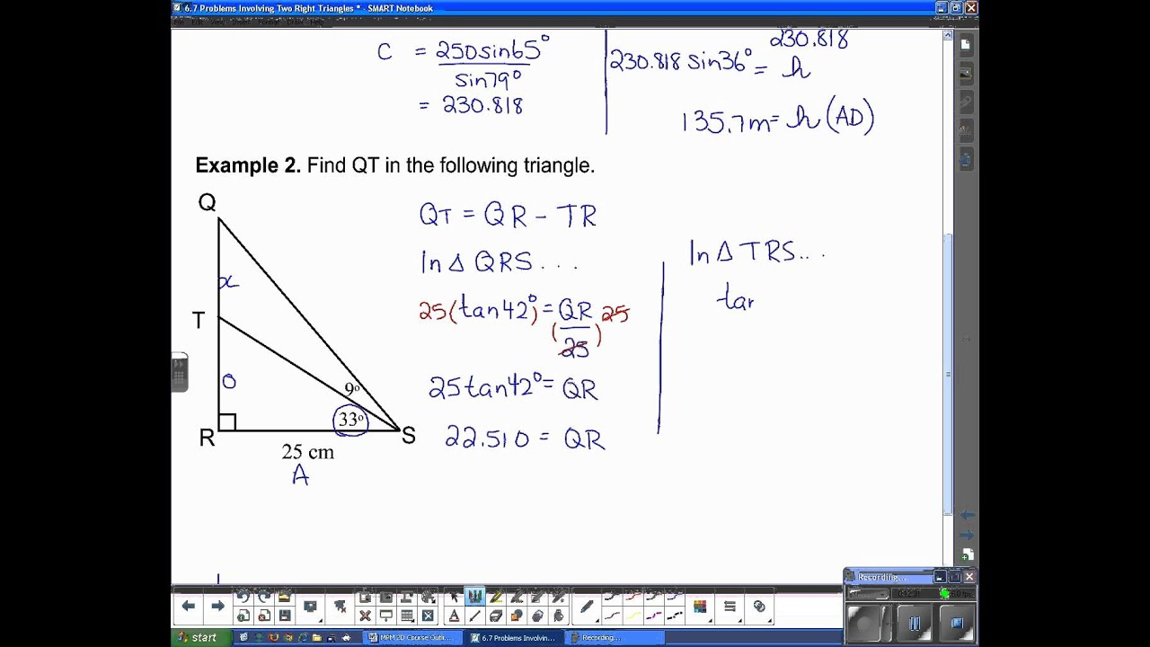 Mpm 2d U1l9 Problems With Multiple Right Triangles
