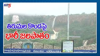 Huge Waterfall on Tirumala Hills | Cyclone Nivar Effect | Chennai Cyclone | Tirupati Floods |TV5News