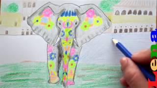 Indischen Elefant zeichnen 🐘 Bunt ausmalen - How to draw Indian Elephant - рисуем индийского слона
