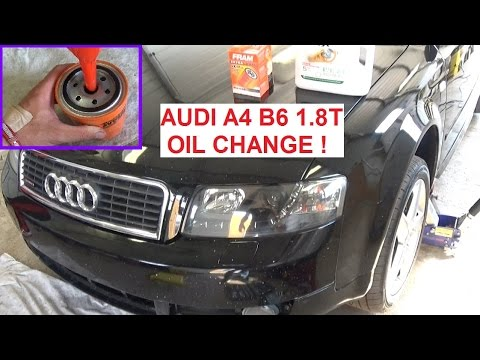 AUDI A4 B6 OIL CHANGE . Change the oil on AUDI A4 1.8T 2003 ...