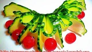 Украшения из огурца. Карвинг из огурца. Украшения из овощей.   Decoration of vegetables