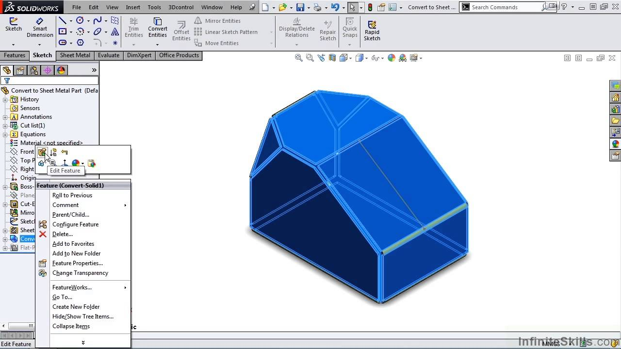 Solidworks Sheet Metal Tutorial Converting To Sheet