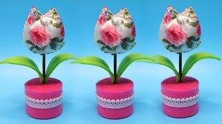 How to make fabric Tulip Pinchusion ! Cara membuat bantalan jarum bunga tulip dari kain katun