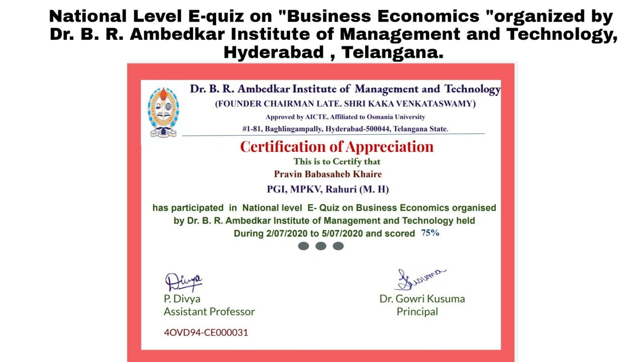 "National Level E-quiz on ""Business Economics ""organized by  Dr. B. R. Ambedkar Institute of Manageme"