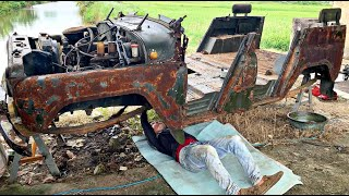 Restoration of the antique UAZ 469 car | Restore and repair of UAZ 469 bridge differential gearbox