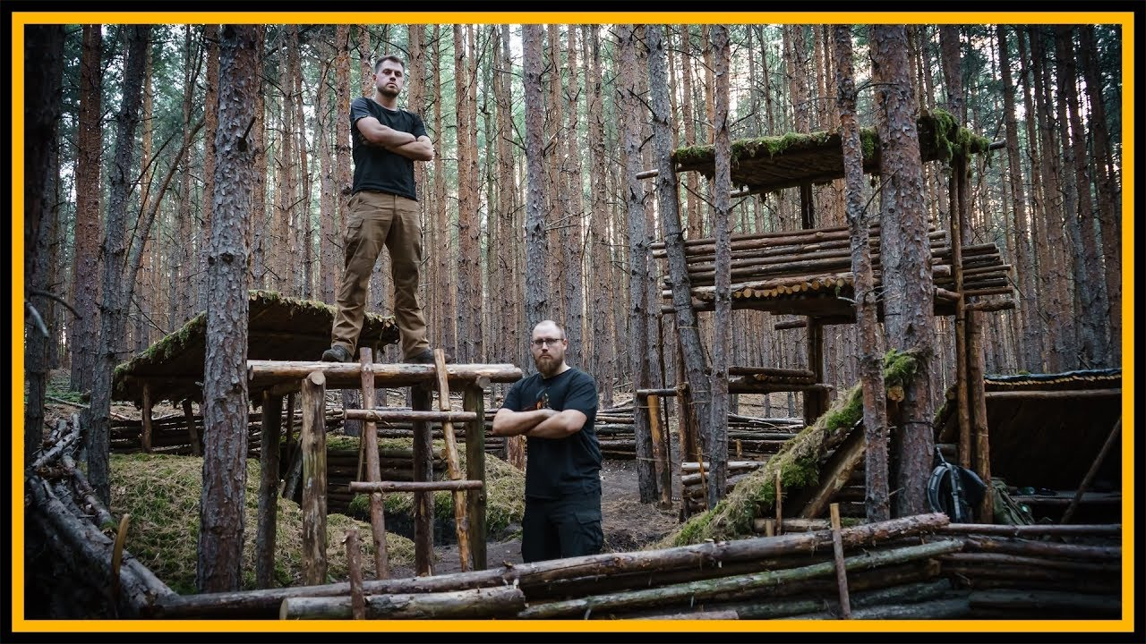 bushcraft camp baumhaus ohne baum der anfang outdoor bushcraft lagerbau youtube. Black Bedroom Furniture Sets. Home Design Ideas