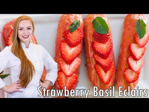 Strawberry Basil Eclairs