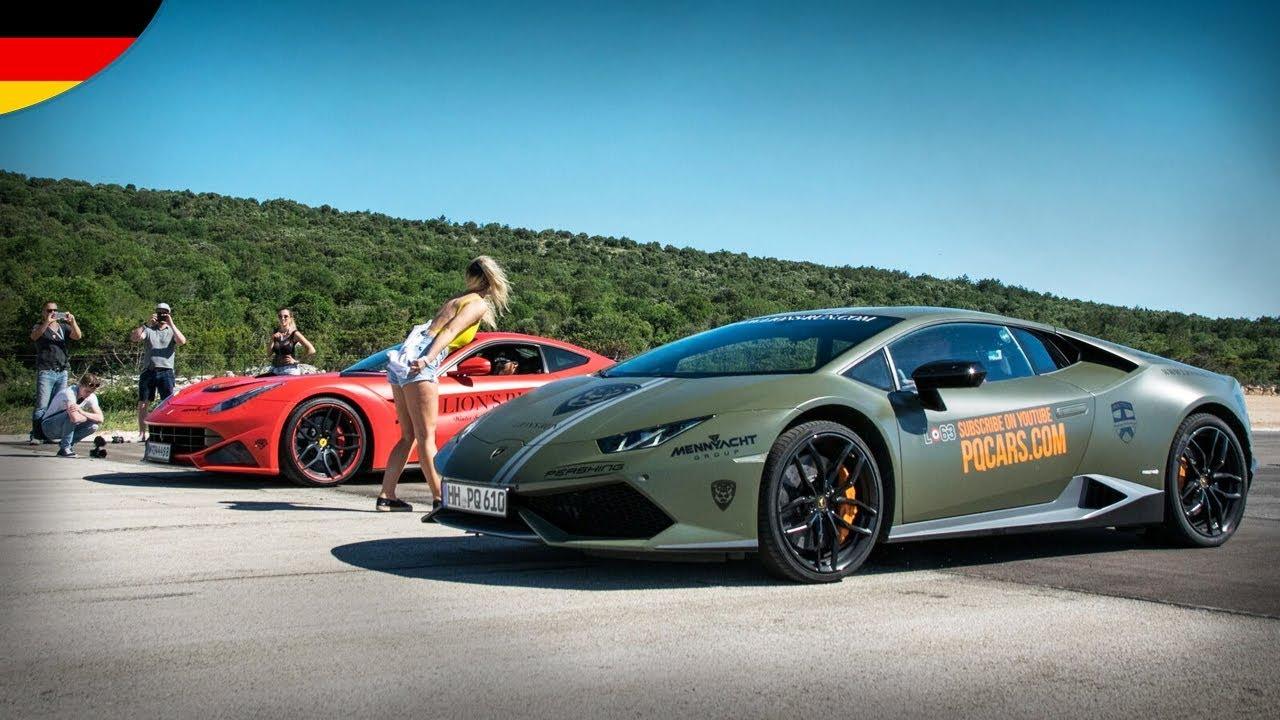 Drag Races Bugatti Veyron, Ferrari F12 N Largo