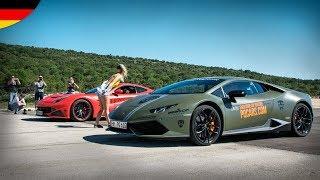 Drag Races: Bugatti Veyron, Ferrari F12 N Largo, Lamborghini Aventador SV & ...