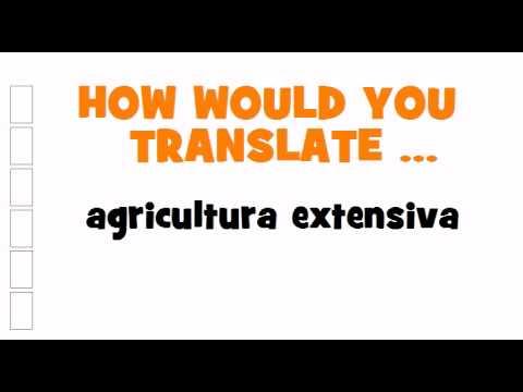 SPANISH TRANSLATION QUIZ = agricultura extensiva