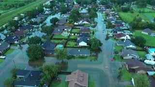 Imelda aftermath  in Nederland, Texas Forest Central Neighborhood 4K 9.19.2019