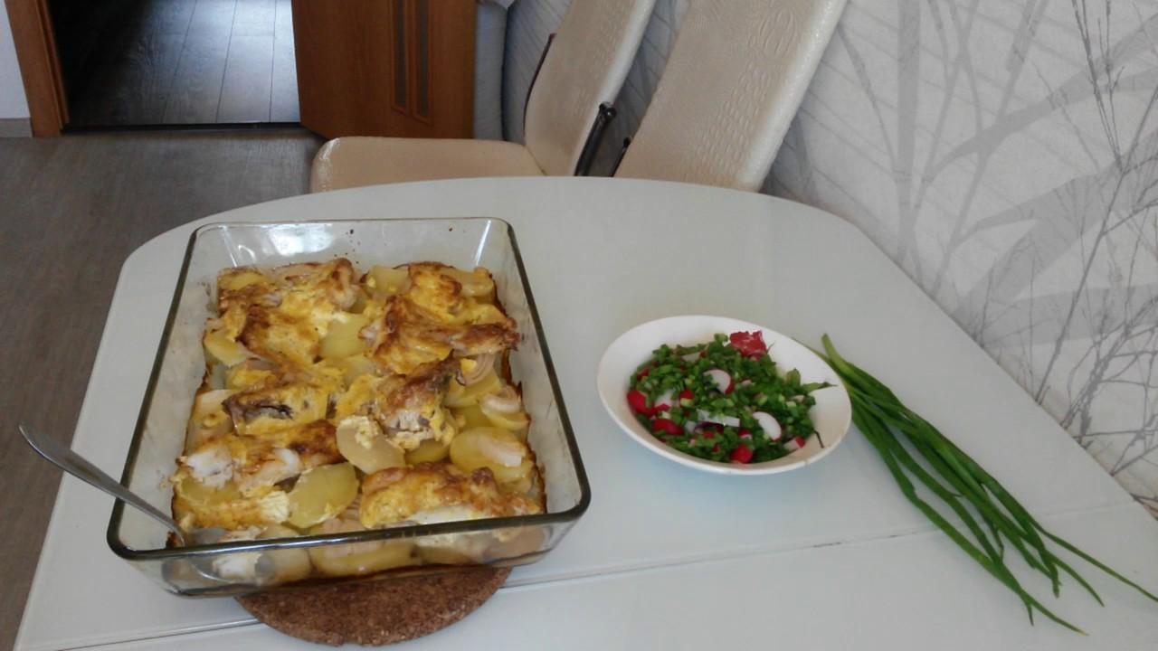 Красный морской окунь, запеченный в духовке с овощами