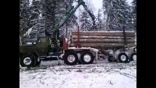 Манипулятор Атлант-С 90, профессиональная погрузка леса ч.1