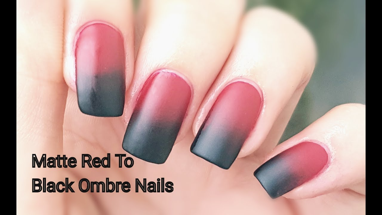 matte red black ombre nails
